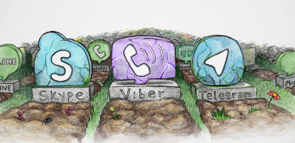 Кладбище мессенджеров, на котором обязательно должны оказаться Skype, Viber, WhatsApp, Hangouts, ooVoo, Apple iMessage, Telegram, Line, Facebook messenger и еще сотни мессенджеров, которым только предстоит выйти в ближайшее время.