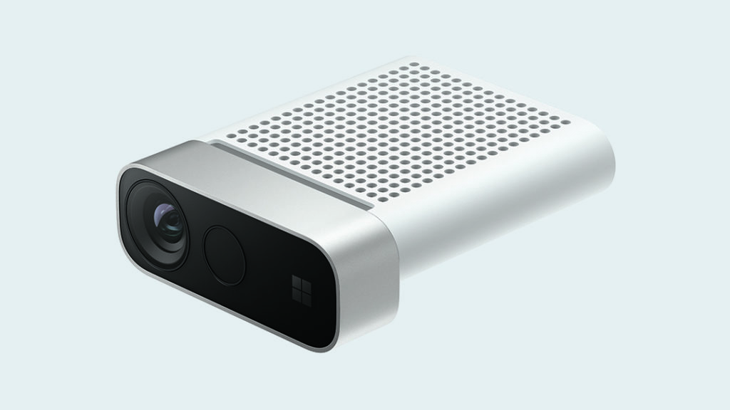 Front and side view of compact silver Azure Kinect DK device