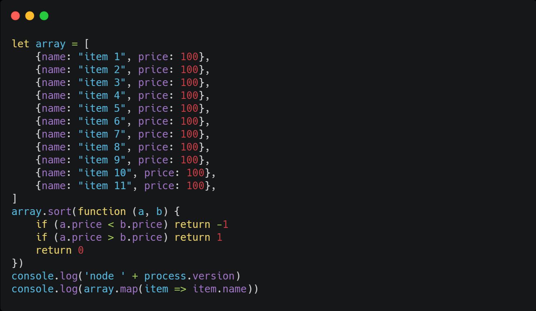 Нестабильная сортировка в JavaScript