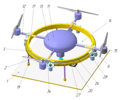 Посадочная платформа с активным устройством позиционирования и захвата БПЛА после приземления Университета Иннополис