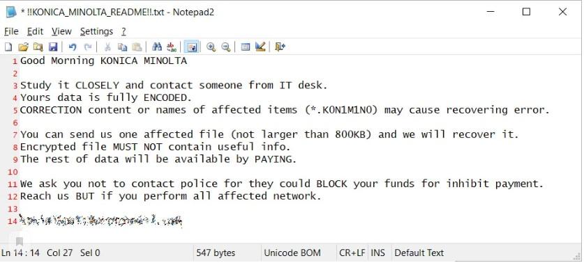 Файл readme.txt оставленный злоумышленниками.