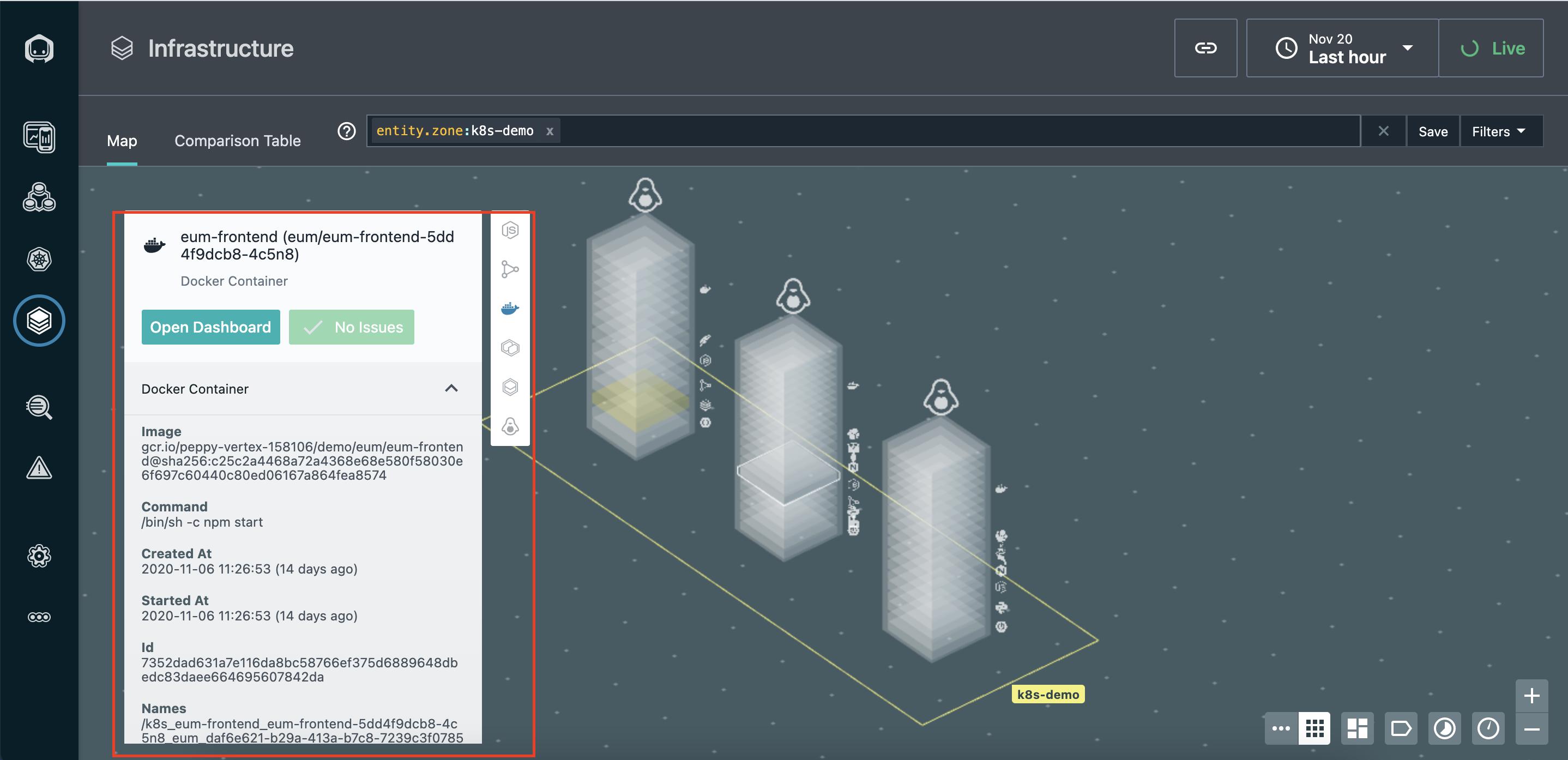 Свойства выбранного Docker контейнера на карте инфраструктуры