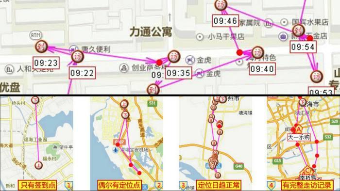 Пример отслеживания передвижения сотрудников в приложении Zhongduantong