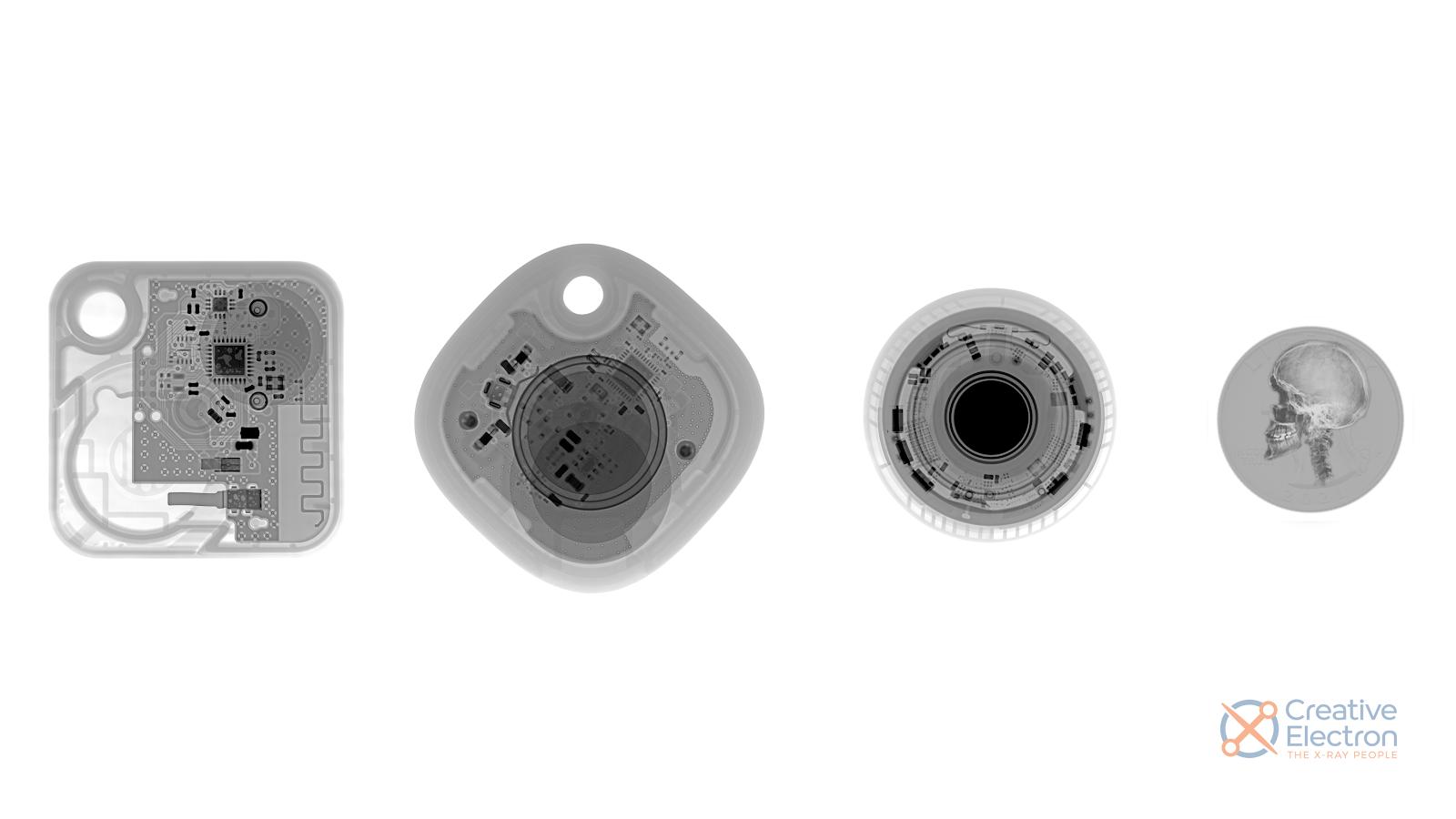 Рентгеновские снимки Tile Mate, Galaxy SmartTag, Apple AirTag, и... да, четверть доллара (но как-то не тянет на законное платёжное средство, не находите?), сделанные с помощью аппарата Creative Electron (на правый крайний не смотрите)
