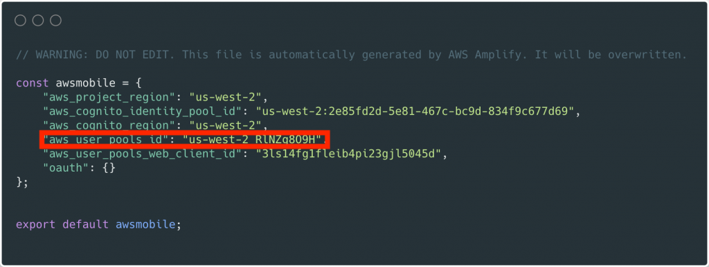 aws_user_pools_id в файле src / aws-exports.js