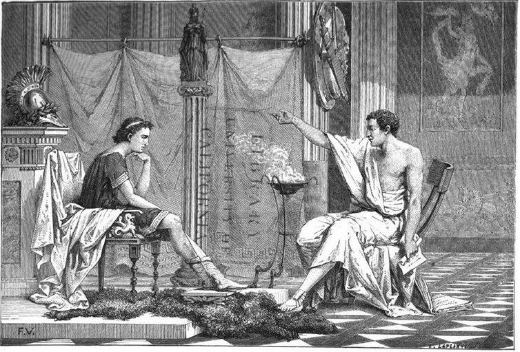 Аристотель читает Александру Македонскому лекцию о настоящей мужской дружбе