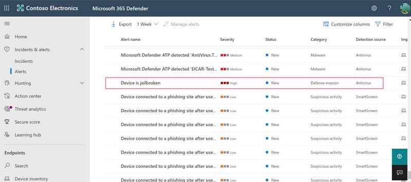 Предупреждение о джейлбрейке в Microsoft 365 Defender