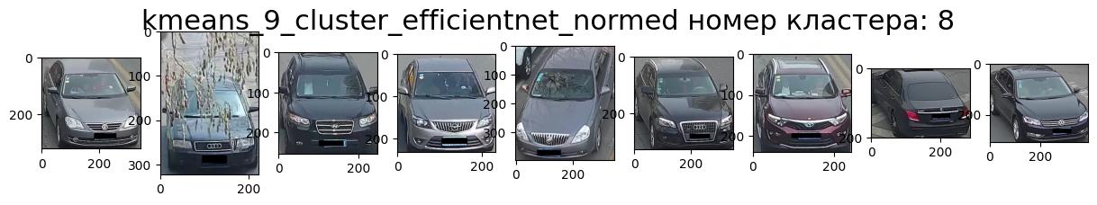 Кластер 8 тёмные машины, передом, ракурс вправо много выбросов.