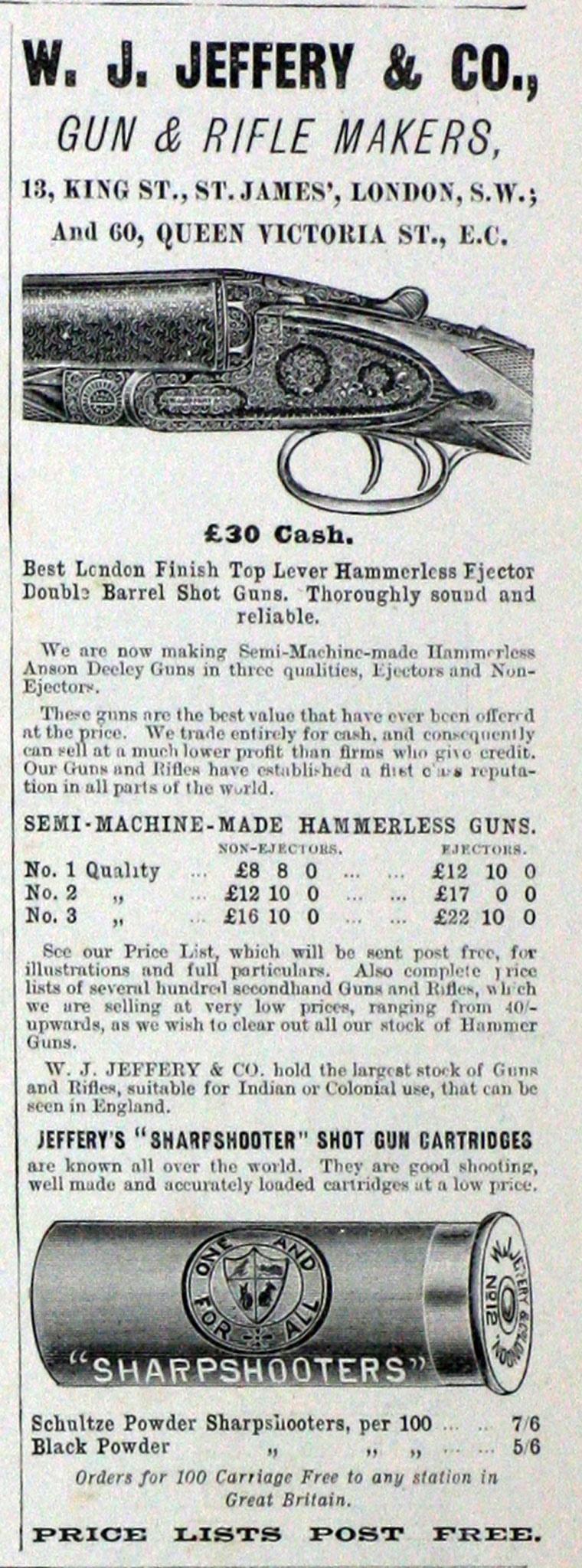 Реклама другого оружия фирмы W. J. Jeffery & Co. примерно аналогичного периода для сравнения уровня цен.