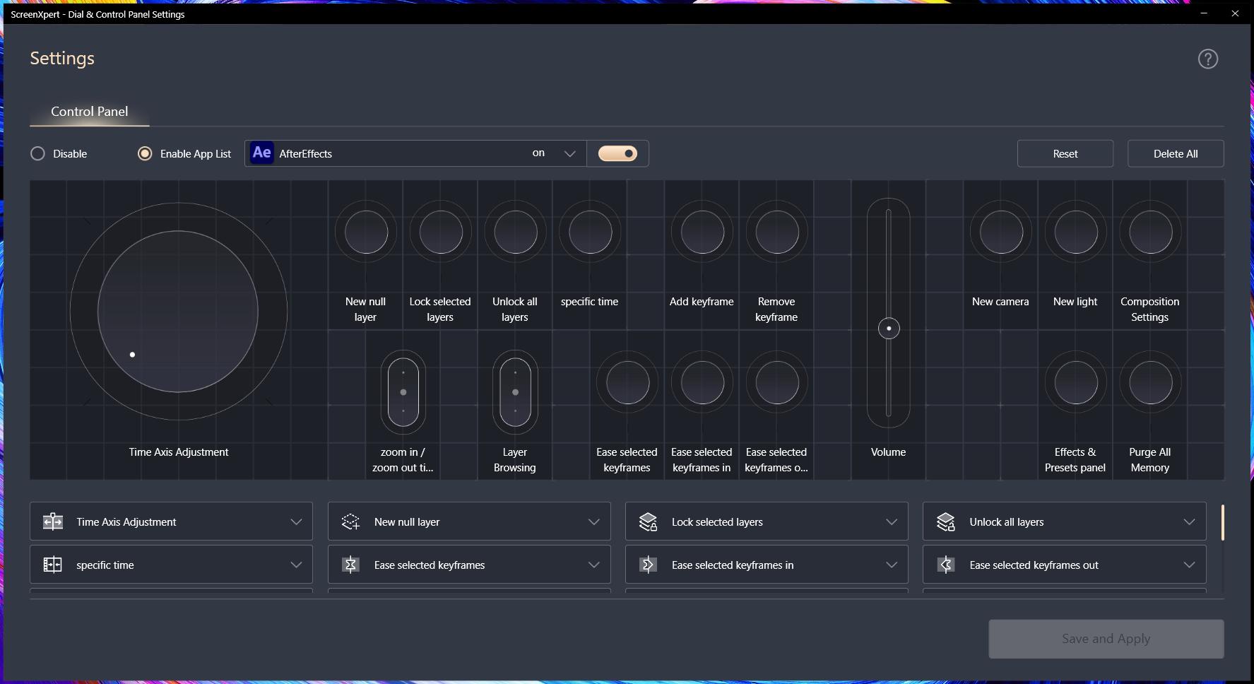 Пример панели инструментов для Adobe After Effects