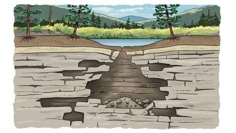 Эти отверстия и трещины со временем расширяются, распространяясь к верхнему слою грунта.