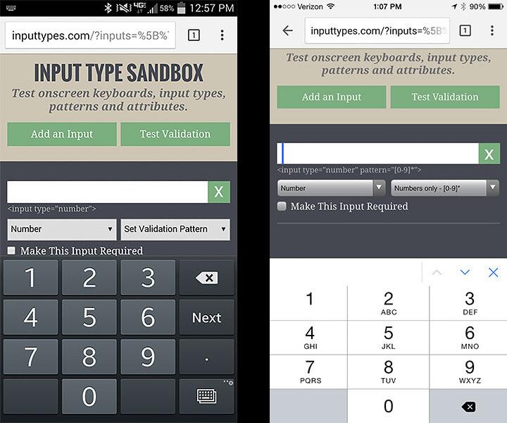 Android 6 слева, iOS 9 справа (http://inputtypes.com)
