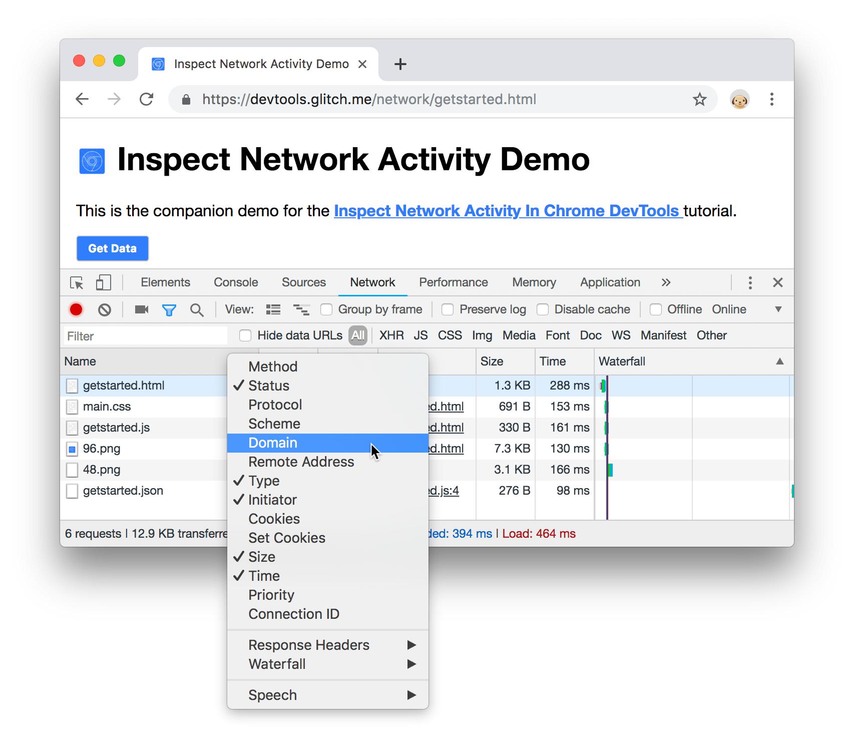 Список возможных столбцов в Network
