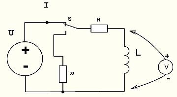 Рис.21 Цепь с индуктивностью и переключателем