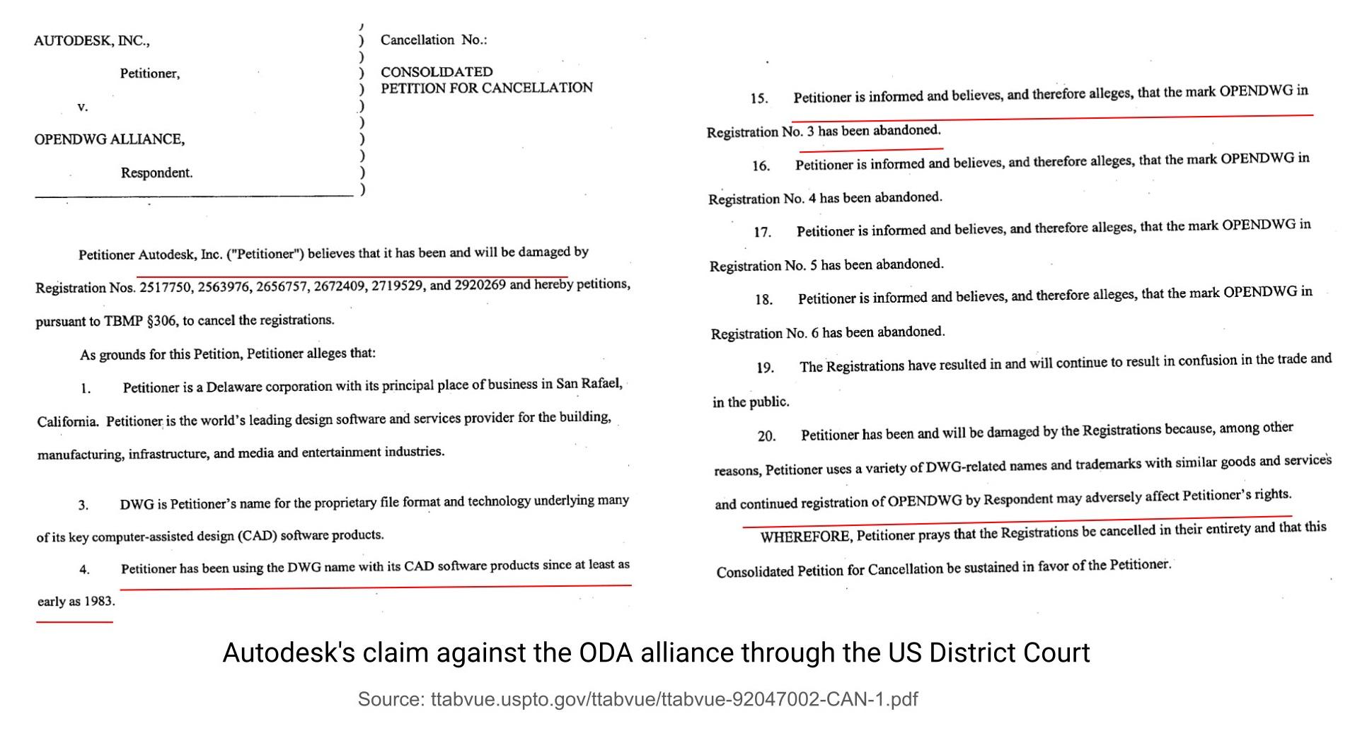 Иск компании Autodesk к альянсу ODA через Американский окружной суд (US District Court)