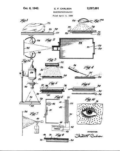 Изображение №3. Первая страница оригинального патента Честера Карлсона, описывающая его изобретение электрофотографии