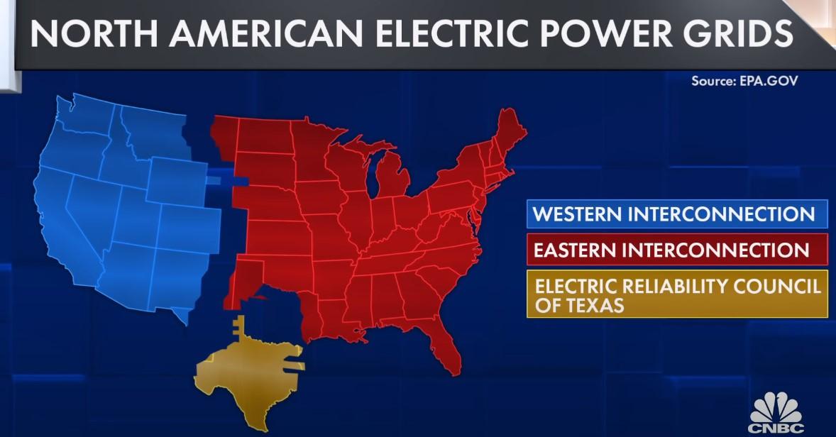 Обособленная энергосеть Техаса выделяется на фоне США.