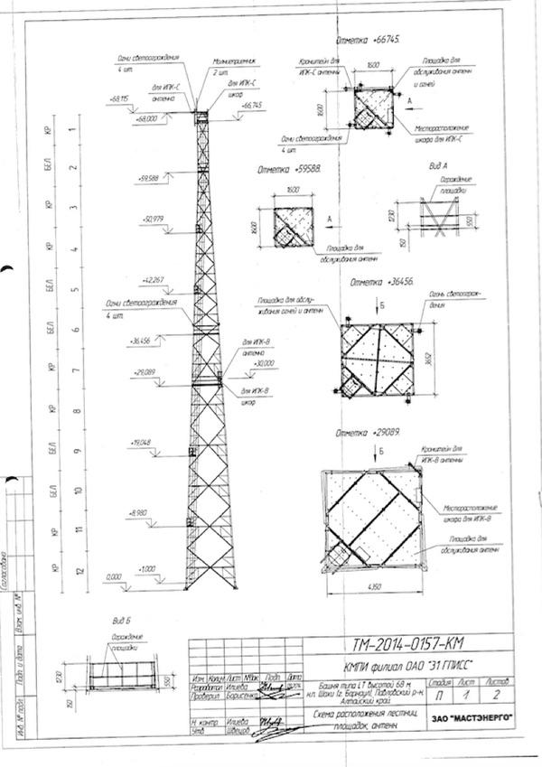 Чертеж калибровочной башни для площадки 1511/4 опубликован в закупочной документации. Источник