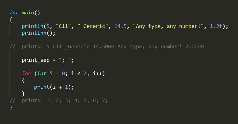 Функция print на Си, принимающая любые аргументы в любом количестве