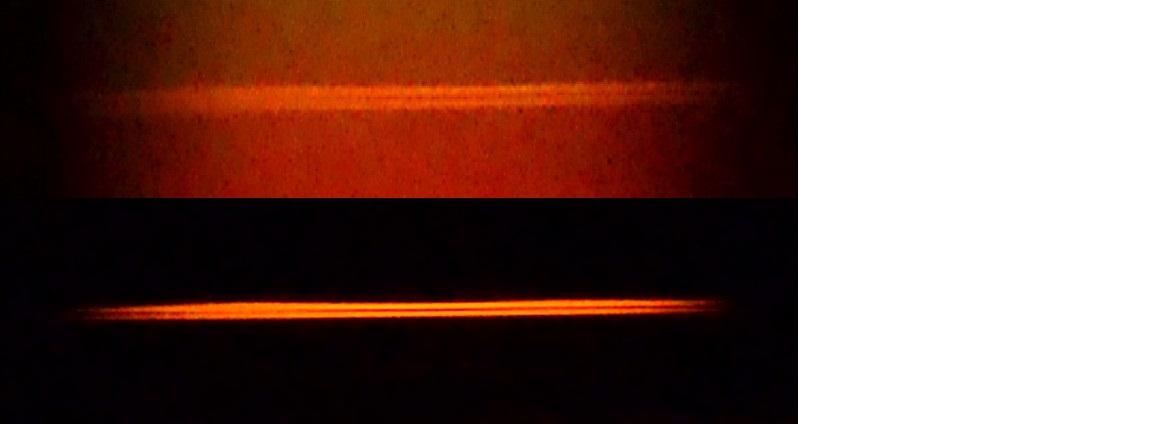 Крупным планом спектральные линии натрия в костре и линии натрия в золе, горящей в спирте.