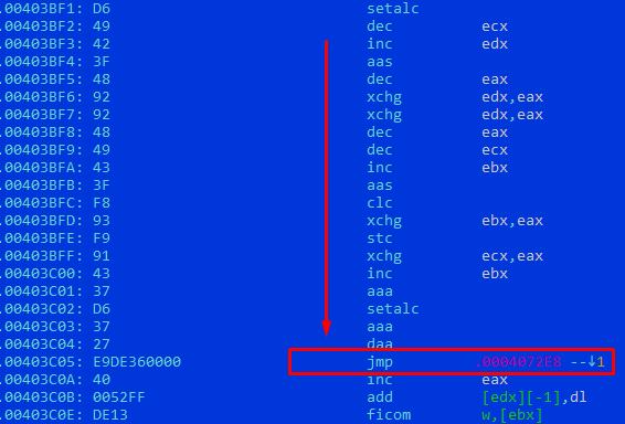 Рисунок 17. Фрагмент кода около точки входа PE-файла, SHA256: f89c96a960cef5b5f767990cd990c5a7a55bdf11f8320263ad4eedbe16ba5ec4