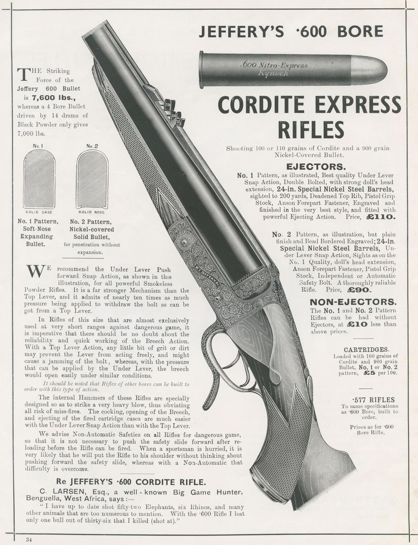 Реклама охотничьих винтовок под патрон .600 Nitro Express в каталоге фирмыW. J. Jeffery & Co