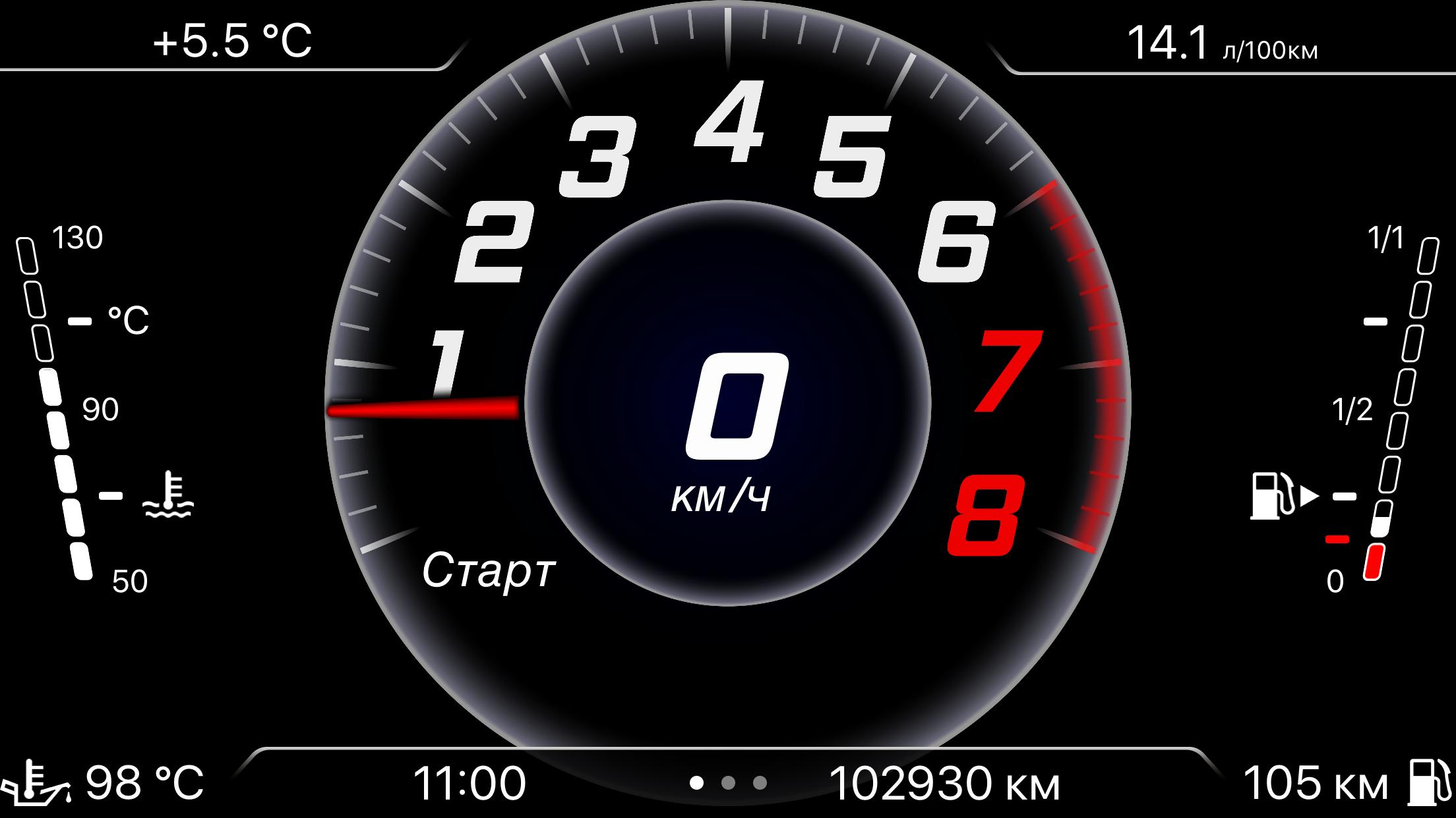 VAG Virtual Cockpit - экран с данными от приборной панели по протоколу UDS