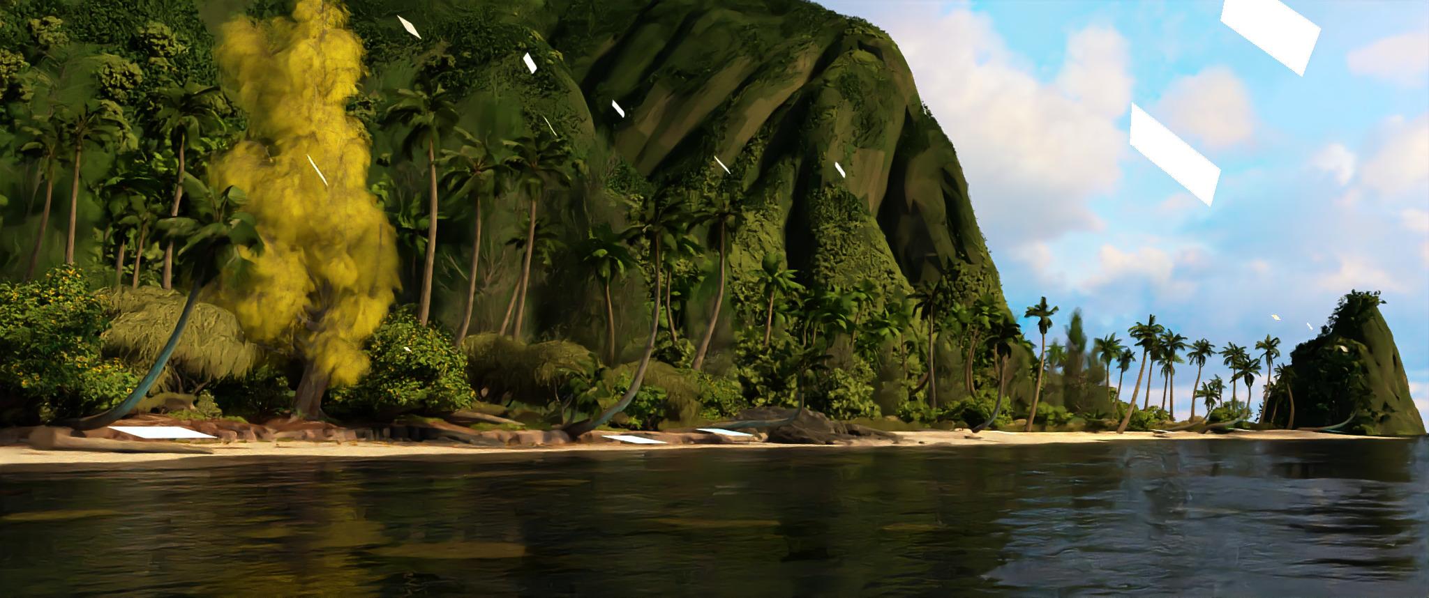 Остров из Моаны (2048 858 пикселей, 64 spp), отрендеренный при помощи Gonzales в хранилище Google Cloud с 8 виртуальными ЦП и 64 ГБ памяти примерно за 26 часов. Остров из Моаны (2048 858 пикселей, 64 spp), отрендеренный при помощи Gonzales в хранилище Google Cloud с 8 виртуальными ЦП и 64 ГБ памяти