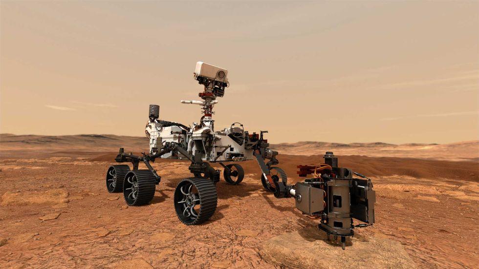 """Для сбора образцов горной породы на Марсе аппарат NASA """"Марс 2020"""" будет использовать буровую установку."""