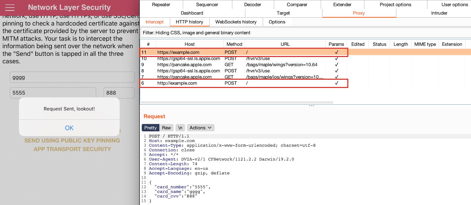 Пример перехвата данных, отправленных приложением