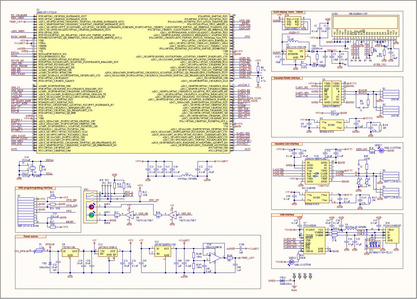 Лист 2. Микроконтроллер, цифровые интерфейсы, дисплей, стабилизаторы питания
