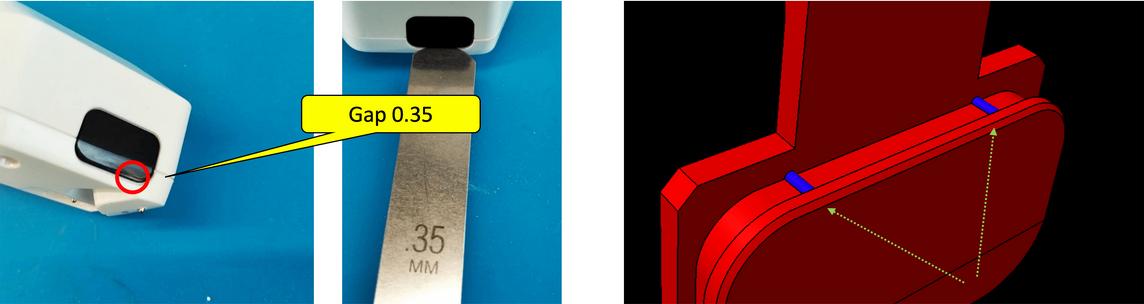 Слева - щель под окошко ИК-порта. Справа - добавленные направляющие ребра, чтобы ИК-окошко располагалось ровно по центру