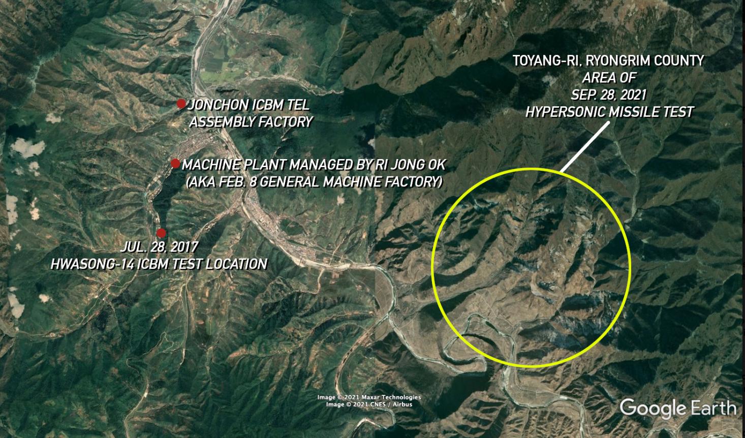 Место проведения испытаний гиперзвуковой ракеты 28 сентября / NK News