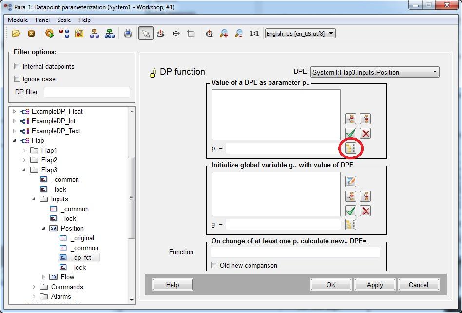 Вызвать окно выбора точек данных для первого параметра