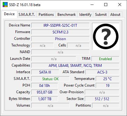 GOODRAM IRDM Pro gen.2: показания SSD-Z 16.01.18