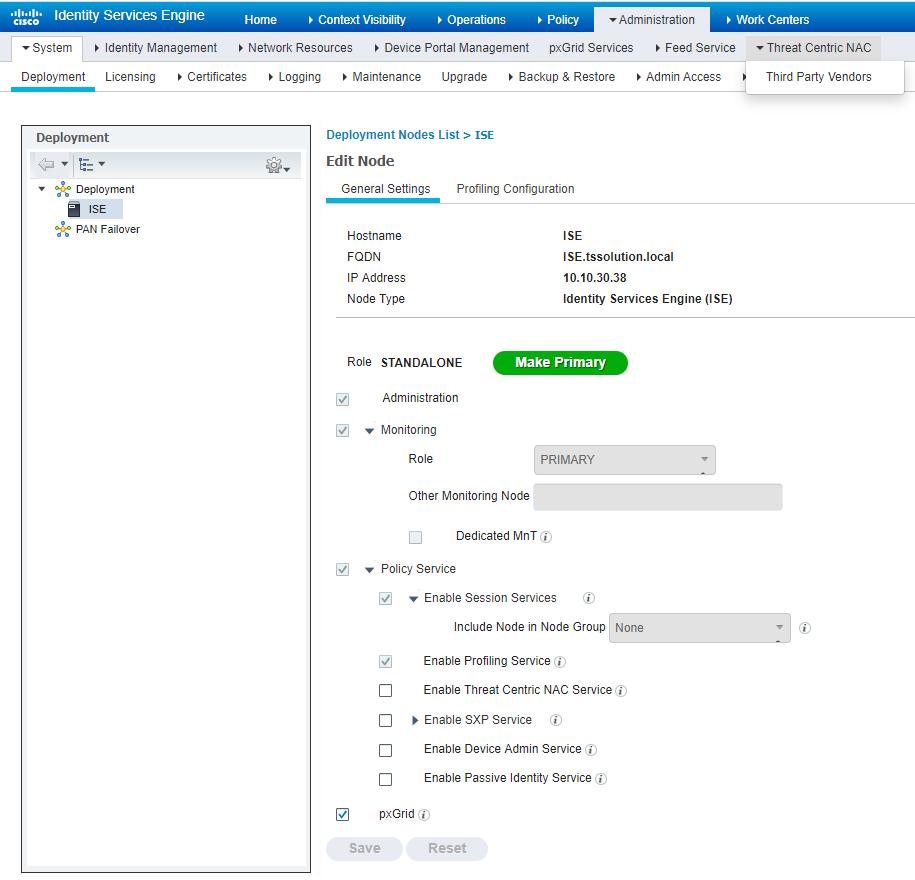 Рисунок 5. Управление сущностями Cisco ISE