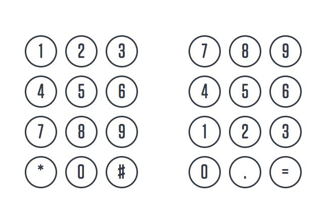 Клавиатуры телефона (слева) и калькулятора (справа).