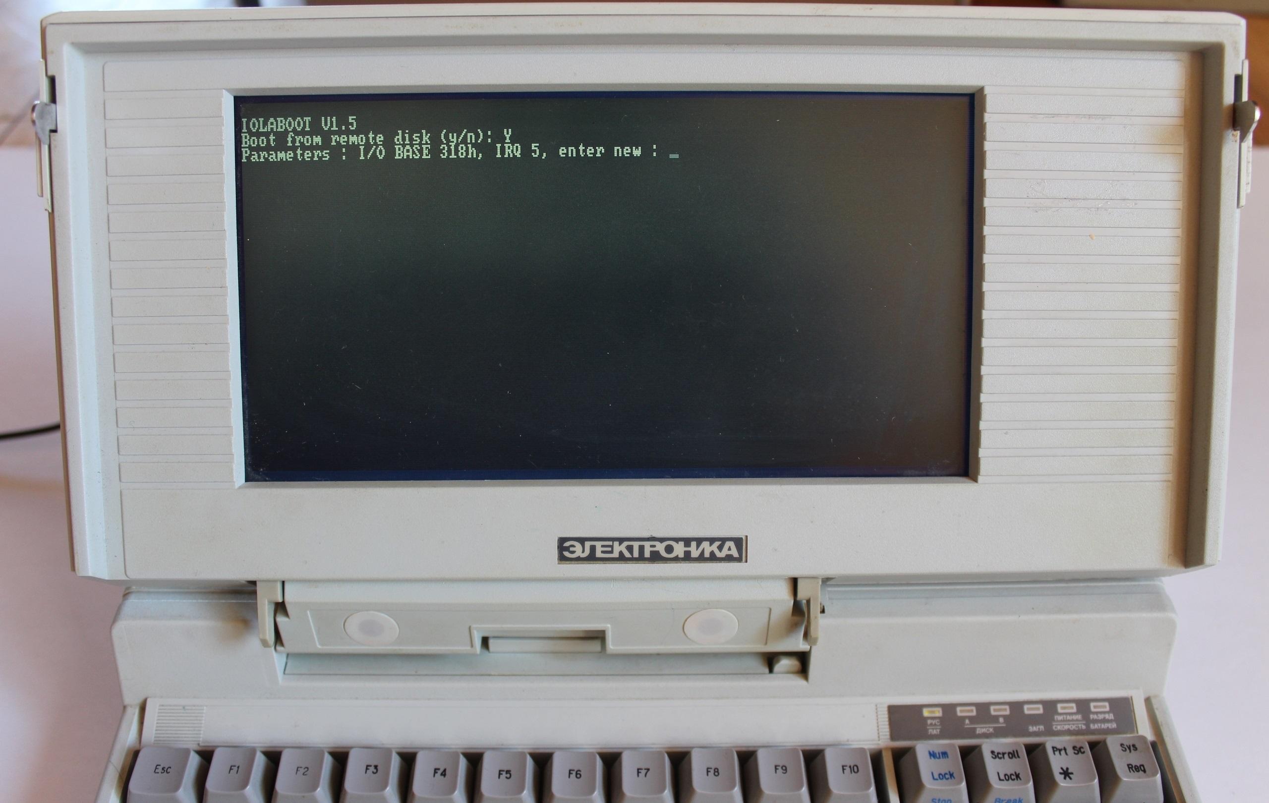 Начальный экран загрузки ноутбука по сети в варианте с сетевой картой