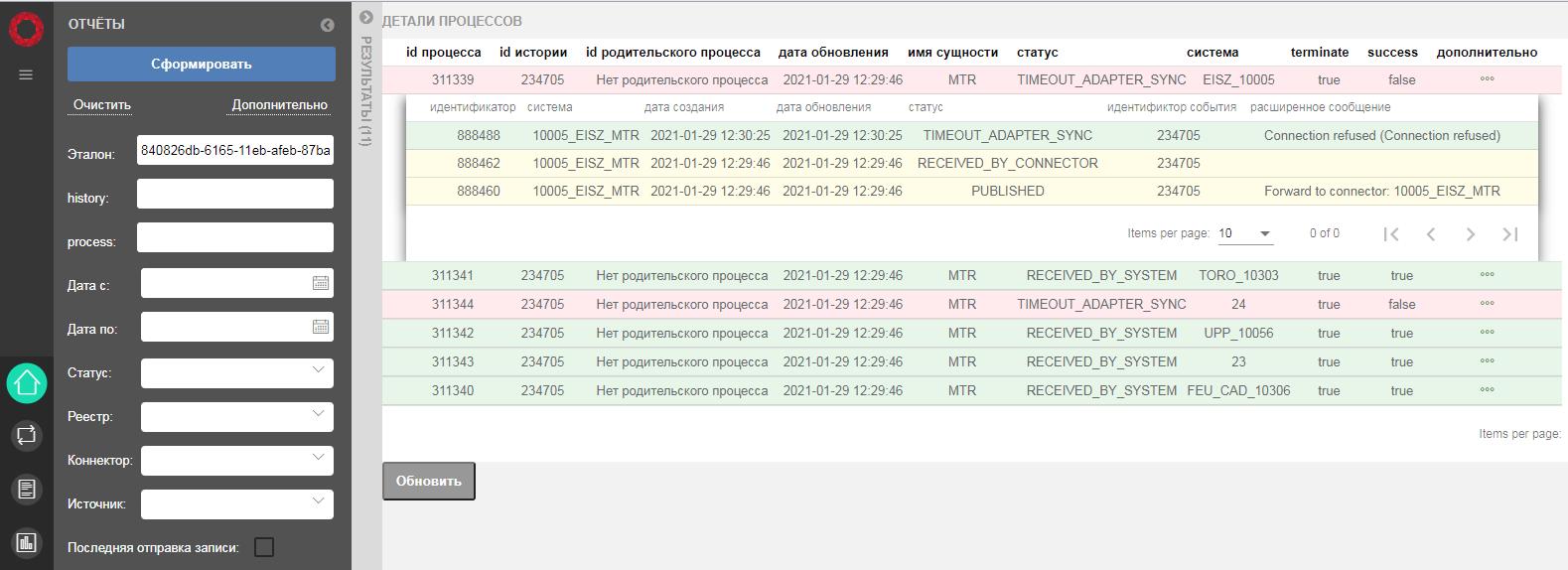 Интерфейс модуля подписки и публикации