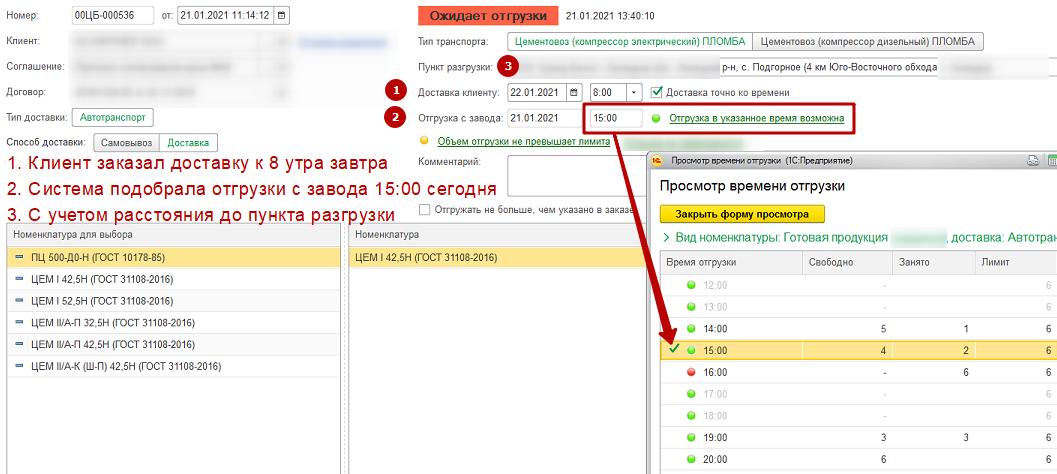 Автоматический подбор свободного часа погрузки на заводе (по заказу в ERP) для доставки клиенту ко времени