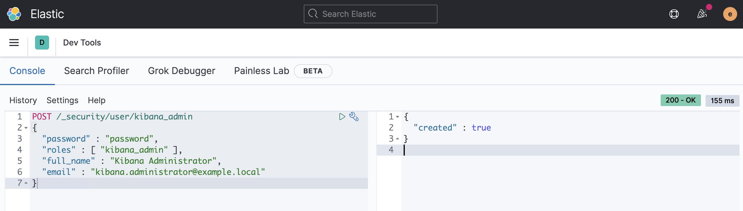 Создание пользователя kibana_admin через API