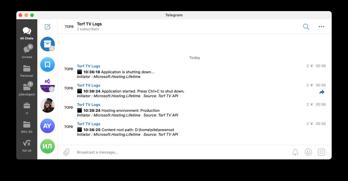 Вот в таком виде приходят логи в телеграмм из одного из проектов, которыми я занимаюсь