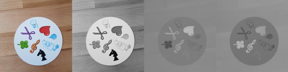 Слева направо: оригинальное изображение, световая компонента, a компонента и b компонента