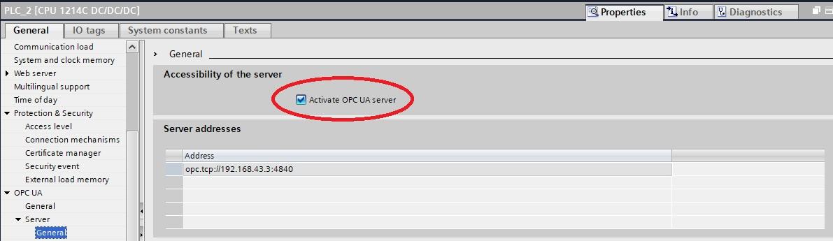 OPC UA для CPU S7-1200 (FW4.4). Настройка сервера