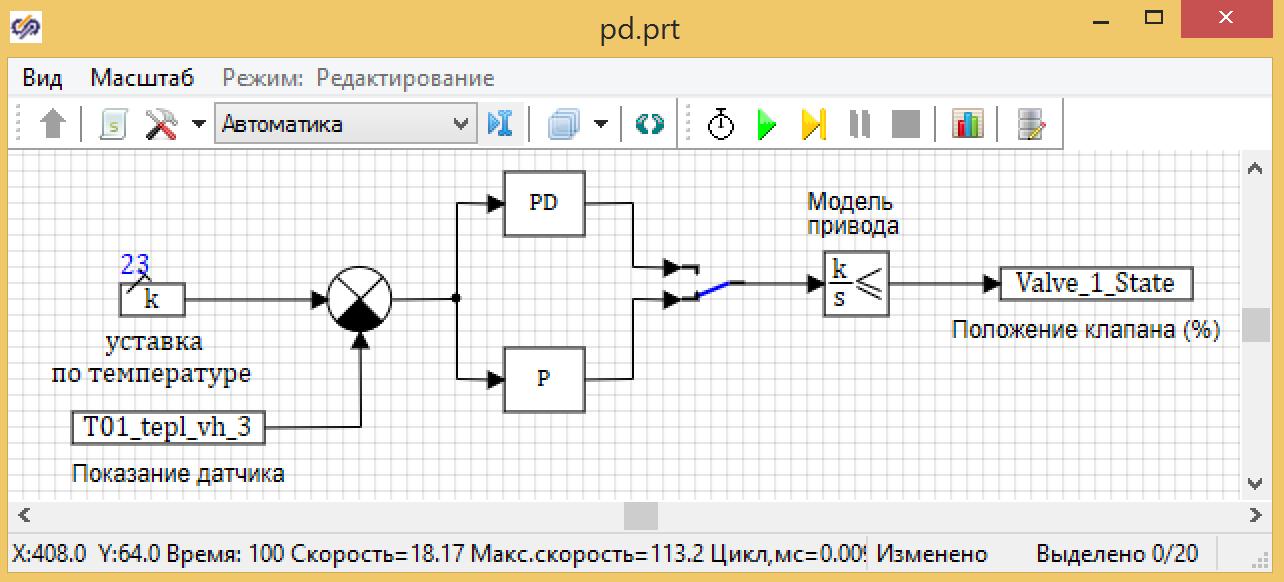 Рисунок 3.7.8 Модель системы управления