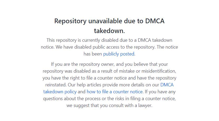 GitHub удалил репозиторий