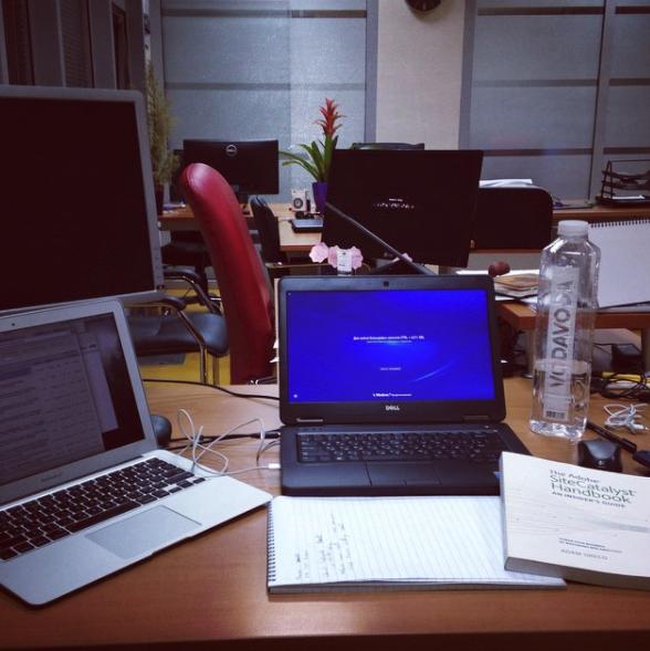 На столе книга по Adobe Site Catalyst - получаю первые знания по свеой новой профессии.