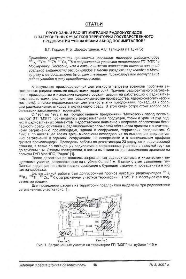 Карта загрязненной территории Московского завода полиметаллов