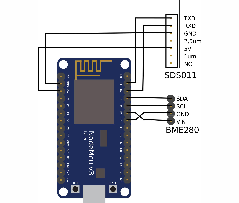 Схема подключения SDS011 и BME280